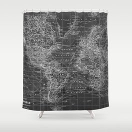 Black and White World Map (1901) Inverse 2 Shower Curtain