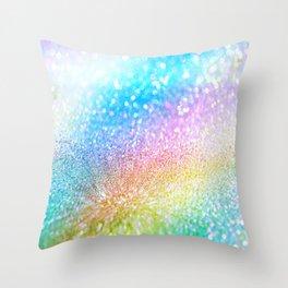 rainbow glitter Throw Pillow