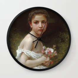 Adolphe William Bouguereau - Petite Fille Au Bouquet Wall Clock