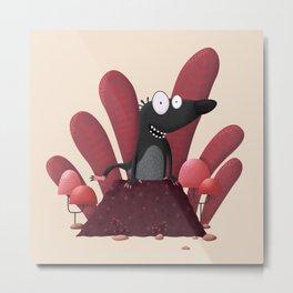 A mole coming out of a molehill Metal Print