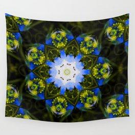 Kaleidoscopic Mandala Baby Blue Eyes Flower Wall Tapestry