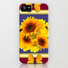 BUTTERFLY SUNFLOWER BOUQUETS BURGUNDY ART iPhone Case