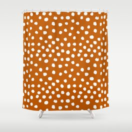Texan texas longhorns orange and white university college football dots Shower Curtain
