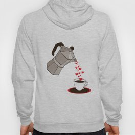 Kitchen Living Room Interior Wall Home Decor with Cuban Coffee Maker pouring Hearts Hoody