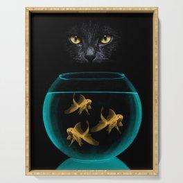 Black Cat Goldfish Serving Tray