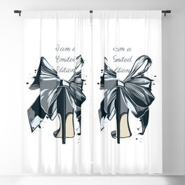 Fashion illustration with high heel shoe and bow. I am limited edition Blackout Curtain