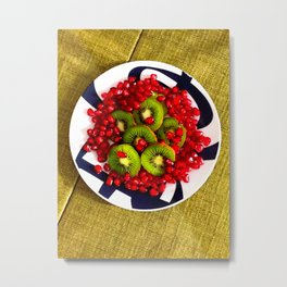 Kiwi and Pomegranate Seeds Metal Print