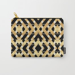 Gold Foil and Black Art Deco Chevron Carry-All Pouch