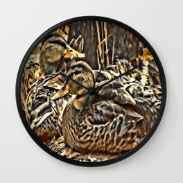 Laying Mallards Wall Clock