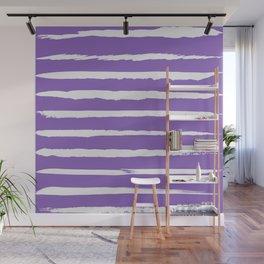 Irregular Hand Painted Stripes Purple Wall Mural