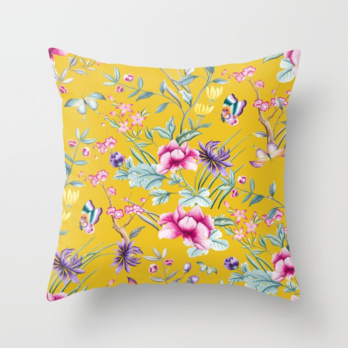 Yellow Chinoiserie Asian Fl Print Throw Pillow By Forestandsky Society6