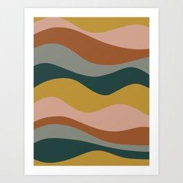 Retro Waves Minimalist Pattern 2 in Rust, Blush Pink, Gray, Navy Blue, and Mustard Gold Art Print