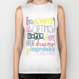"""Always will be the Optimist"" Dr. Who Quote Biker Tank"
