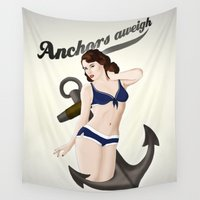 50s Wall Tapestries featuring Anchors Aweigh - Classic Pin Up by Nicklas Gustafsson