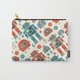Retro Space Robot Seamless Pattern Carry-All Pouch