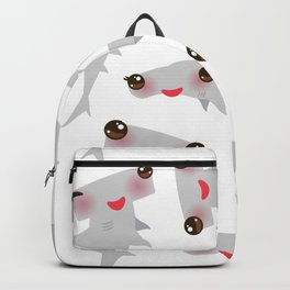 Cartoon gray Smooth hammerhead Winghead shark Kawaii Backpack