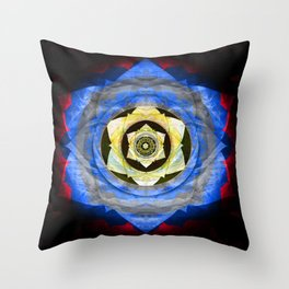 Rose Star of Subtle Insight Healing Mandala Throw Pillow
