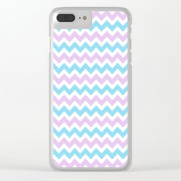 Light Blue, Lilac & White Chevron Pattern Clear iPhone Case