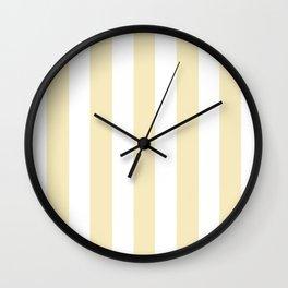 Lemon meringue pink - solid color - white vertical lines pattern Wall Clock