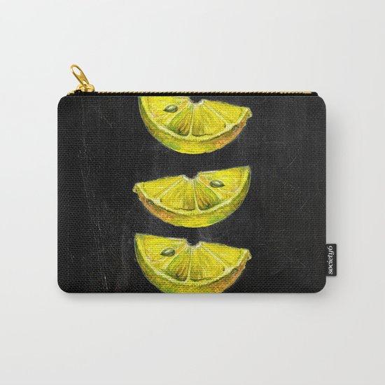 Lemon Slices Black Carry-All Pouch