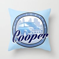 mini cooper Throw Pillows featuring Cooper by Barbo's Art