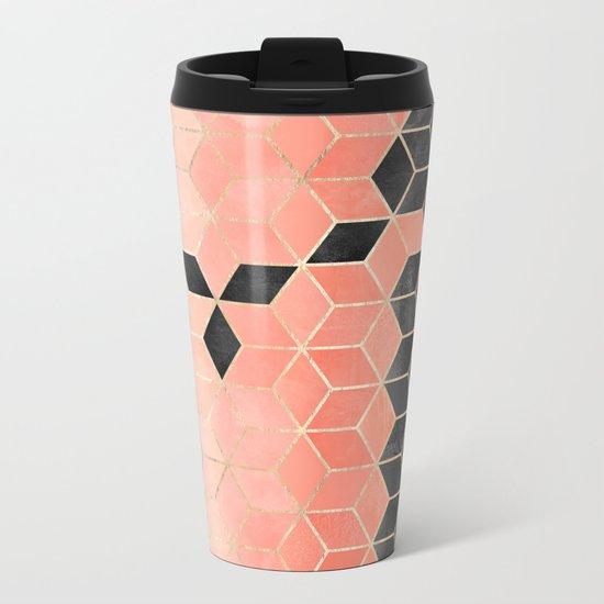 Black And Coral Cubes Metal Travel Mug