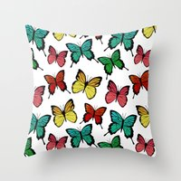 butterflies Throw Pillows featuring Butterflies by Julia Badeeva