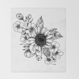 Bouquet of Flowers with Sunflower / Fall floral lineart Throw Blanket