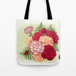 Full bloom | Ladybug carnation Tote Bag