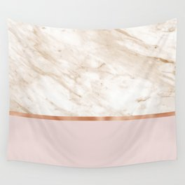 Caramel marble on rose gold blush Wall Tapestry