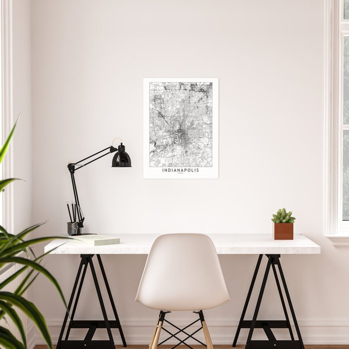 Indianapolis White Map Poster
