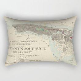 Vintage Map of NYC & The Croton Aqueduct (1899) Rectangular Pillow