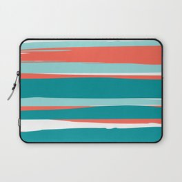 Striped California Seascape, Living Coral, Teal Laptop Sleeve
