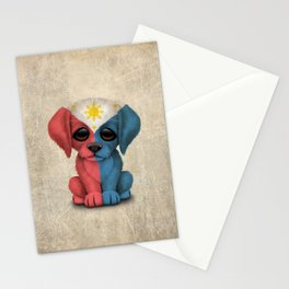 Cute Puppy Dog with flag of The Philippines Stationery Cards