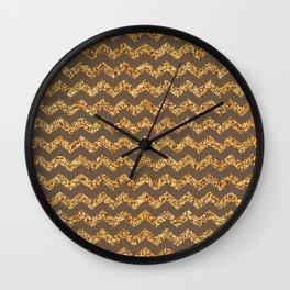 Rose Ebony Gold Glitter Chevron Pattern Wall Clock