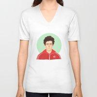 tenenbaum V-neck T-shirts featuring Chas Tenenbaum by Galaxyspeaking