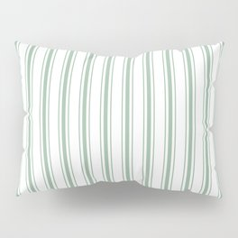 Mattress Ticking Wide Striped Pattern in Moss Green and White Pillow Sham