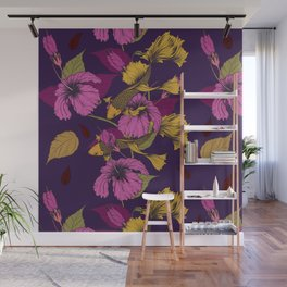 Vibrant Goldfish And Hibiscus Flower Pattern Wall Mural