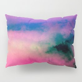 Fog Forest Mountain - Pink Rainbow Northern Lights Pillow Sham