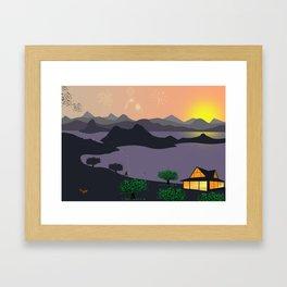 Bay at night Framed Art Print