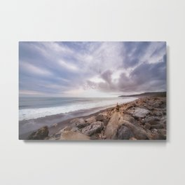 Windswept overcast beach at Bruce Bay at sunset in New Zealand. Metal Print