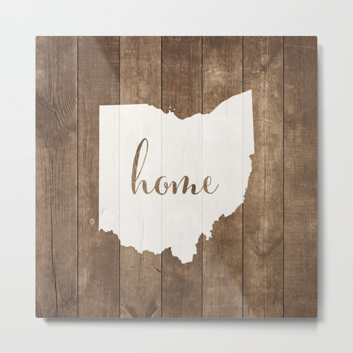 Ohio is Home - White on Wood Metal Print