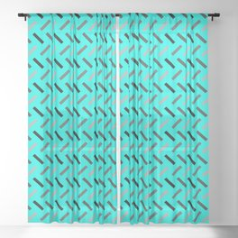 Wonky Rectangles Blue Sheer Curtain