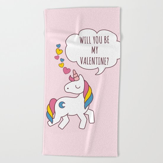 Valentine's Day - Unicorn Be my Valentine Beach Towel
