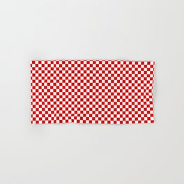 Small Checker Print - Red and White Hand & Bath Towel