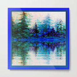 BLUE SCENIC MOUNTAIN PINES LAKE REFLECTION ART  PATTERNS Metal Print
