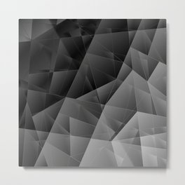 Metal sharp pattern of chaotic black and white fragments of glass, foil, highlights silver ingots. Metal Print