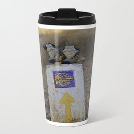Camino Route Marker and Old Boots Metal Travel Mug