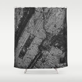 Central Park New York 1947 vintage old map for office decoration Shower Curtain