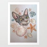 naked kitty Art Print